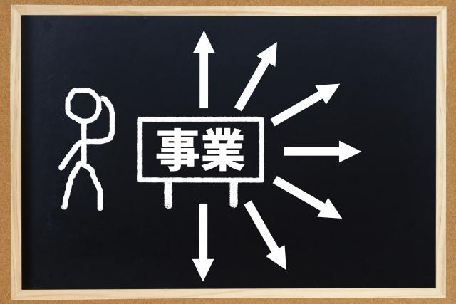 ボードに多角化の絵と事業の文字